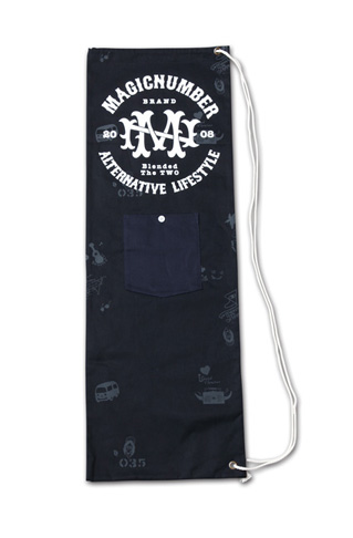 スケボーサイズの縦長巾着『Cotton Twill Skateboard Case』MAGIC NUMBER 14SS最新ITEM_Black