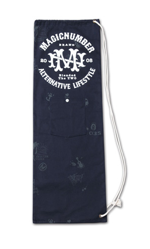 スケボーサイズの縦長巾着『Cotton Twill Skateboard Case』MAGIC NUMBER 14SS最新ITEM_Navy
