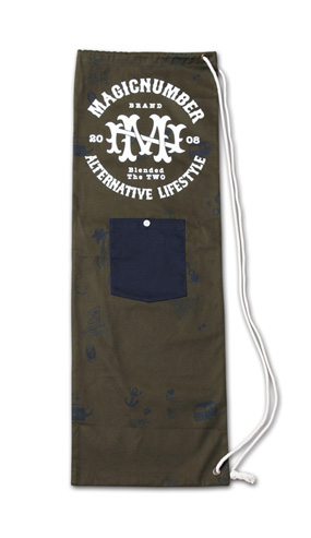 スケボーサイズの縦長巾着『Cotton Twill Skateboard Case』MAGIC NUMBER 14SS最新ITEM_Olive
