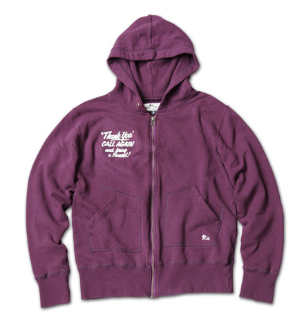 "日本製のリサイクルコットンパーカ『Recycle Cotton Sweat Zip Up Hoodie ""Thank You""』MAGIC NUMBER 14SS最新ITEM_Burgandy"