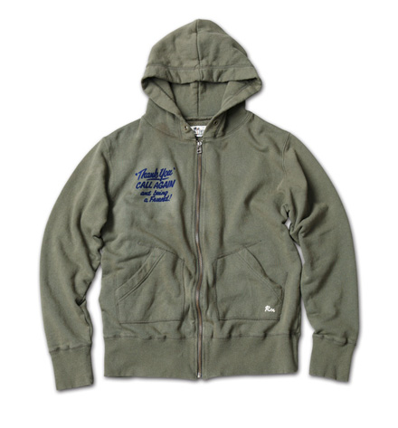 "日本製のリサイクルコットンパーカ『Recycle Cotton Sweat Zip Up Hoodie ""Thank You""』MAGIC NUMBER 14SS最新ITEM_Olive"