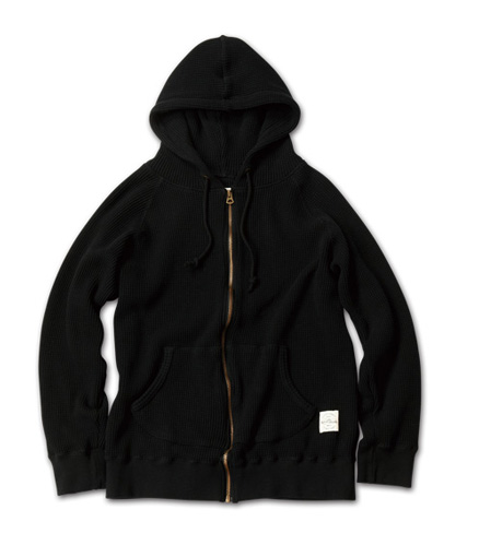 ヘビィウエイトワッフル地のフーディ『Heavy Weight Waffle Zip-up Hoodie』MAGIC NUMBER AW ITEM_Black