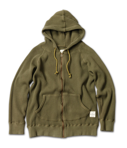 ヘビィウエイトワッフル地のフーディ『Heavy Weight Waffle Zip-up Hoodie』MAGIC NUMBER AW ITEM_Olive