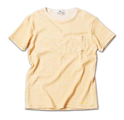 日本製で風合いもよく、シンプルで着やすいポケT『Top Dye Waffle Pocket Tee』MAGIC NUMBER 14SS最新ITEM_Yellow
