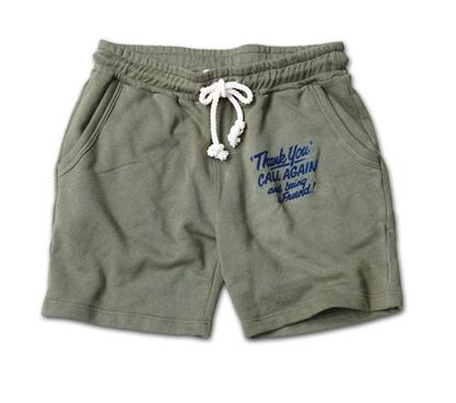 """日本製のリサイクルコットンスウェットショーツ『Recycle Cotton Sweat Shorts""""Thank You""""』MAGIC NUMBER 14SS最新ITEM_Olive"""