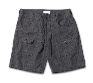 デニムの本場岡山のファクトリーで作られたブッシュショーツ『Pinstripe Denim Bush Shorts』MAGIC NUMBER 14HS最新ITEM_Black