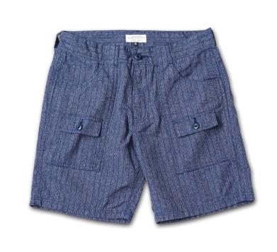 デニムの本場岡山のファクトリーで作られたブッシュショーツ『Pinstripe Denim Bush Shorts』MAGIC NUMBER 14HS最新ITEM_Indigo