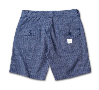デニムの本場岡山のファクトリーで作られたブッシュショーツ『Pinstripe Denim Bush Shorts』MAGIC NUMBER 14HS最新ITEM_Indigo_B