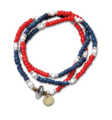 "MNとSUNKUのコラボネックレス『MN x SUNKU Neckrace & Bracelet""  Tricolor"" Ver.』--2014/5/10発売『Blue.』6月号 掲載商品 #4_Indigo_Red"
