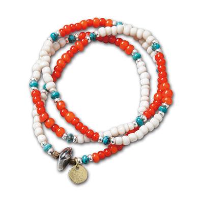 "MNとSUNKUのコラボネックレス『MN x SUNKU Neckrace & Bracelet""  Tricolor"" Ver.』--2014/5/10発売『Blue.』6月号 掲載商品 #4_White_orange"