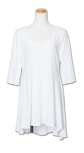 ヘンリーネックのワンピ『3/4 Sleeve High-Low OP』MN by Lepidos 14SS最新ITEM_White