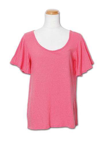 シンプルながらラッフル袖がフェミニン『Ruffle Sleeve Tee』MN by Lepidos 14SS最新ITEM_Pink