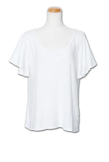 シンプルながらラッフル袖がフェミニン『Ruffle Sleeve Tee』MN by Lepidos 14SS最新ITEM_White