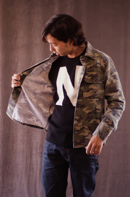 """MAGIC NUMBER Holiday最新ITEM 7G Cotton Blend School Knit """"N""""Logo Sweater"""